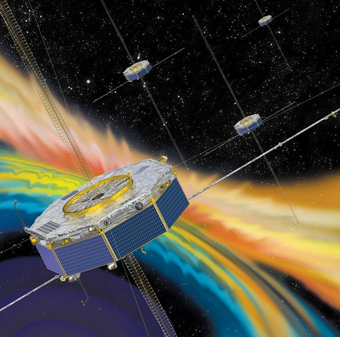 Artist rendition of the four MMS spacecraft in orbit in Earth's magnetosphere. Image Credit: NASA