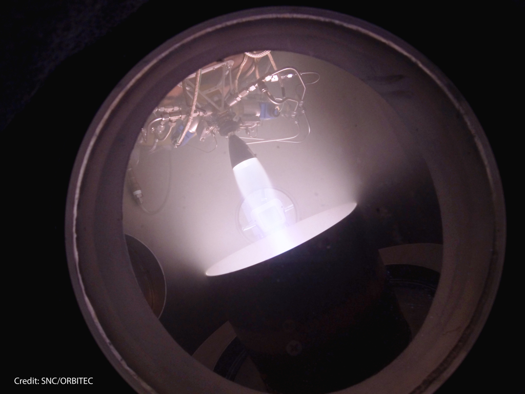 SNC and ORBITEC complete RCS testing in vacuum chamber to simulate orbit environment.