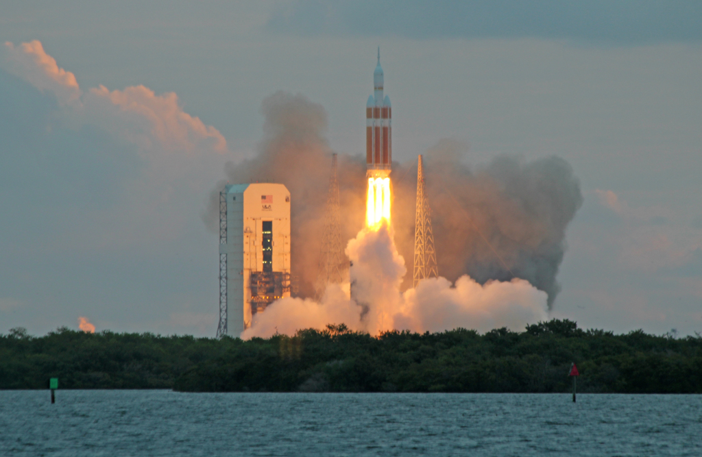 The United Launch Alliance Delta IV Heavy rocket with NASA's Orion spacecraft mounted atop, lifts off from Cape Canaveral Air Force Station's Space Launch Complex 37 at at 7:05 a.m. EST, Friday, Dec. 5, 2014, in Florida. Image Credit: Colorado Space News