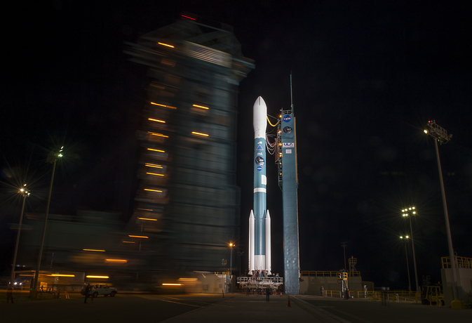 NASA's Soil Moisture Active Passive (SMAP) observatory awaits launch on top of its Delta II rocket at the Vandenberg Air Force Base in California. The mobile tower used to service the rocket has been rolled back in preparation for launch, Image Credit: NASA/Bill Ingalls