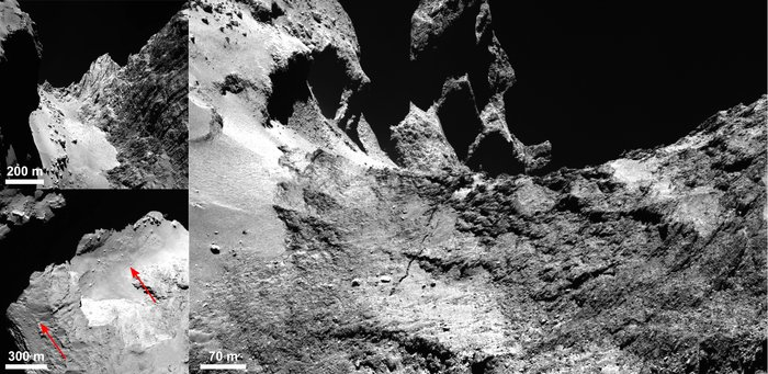 OSIRIS images of Comet 67P/Churyumov–Gerasimenko showing the details of a 500 m-long crack running through the Hapi region. A context image showing the smooth, boulder-strewn Hapi region and the Hathor cliff face to the right is shown in the top left panel. The bottom-left panel indicates the crack extending across Hapi and beyond. The right panel shows the crack where it leaves Hapi and extends into Anuket, with Seth at the uppermost left and Hapi in the lower left. Image Credit: ESA/Rosetta/MPS for OSIRIS Team MPS/UPD/LAM/IAA/SSO/INTA/UPM/DASP/IDA