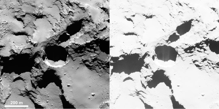 Active pit detected in Seth region of Comet 67P/Churyumov–Gerasimenko. This is an OSIRIS narrow-angle camera image acquired on 28 August 2014 from a distance of 60 km. The image resolution is 1 m/pixel. Enhancing the contrast (right) reveals fine structures in the shadow of the pit, interpreted as jet-like features rising from the pit.  Image Credit: ESA/Rosetta/MPS for OSIRIS Team MPS/UPD/LAM/IAA/SSO/INTA/UPM/DASP/IDA