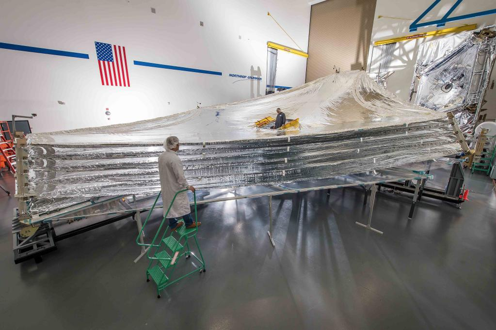 A test version of the James Webb Space Telescope is picture here. Image Credit: NASA