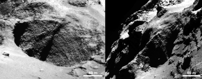 Close-ups of a curious surface texture nicknamed 'goosebumps'. The characteristic scale of all the bumps seen on Comet 67P/Churyumov–Gerasimenko by the OSIRIS narrow-angle camera is approximately 3 m, extending over regions greater than 100 m. They are seen on very steep slopes and on exposed cliff faces, but their formation mechanism is yet to be explained. Image Credit: ESA/Rosetta/MPS for OSIRIS Team MPS/UPD/LAM/IAA/SSO/INTA/UPM/DASP/IDA
