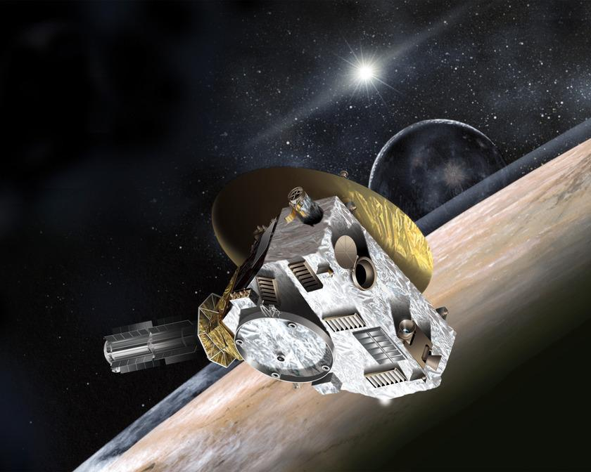 The New Horizons spacecraft is depicted during the July 14, 2015 closest approach to the Pluto system in this artist's representation. Image Credit: NASA