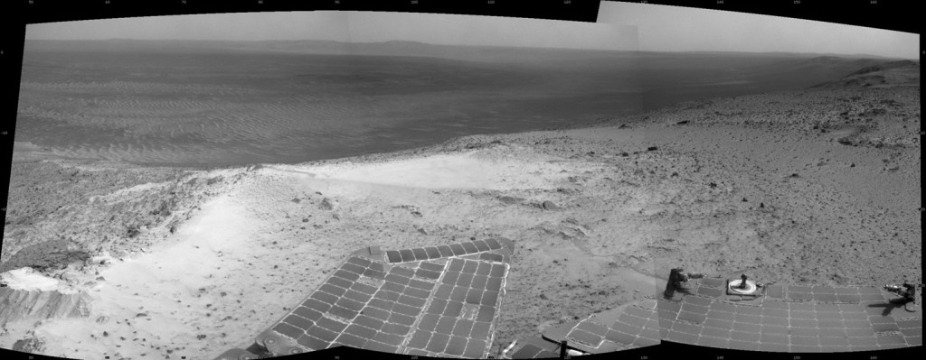 "NASA's Mars Exploration Rover Opportunity recorded this view just after reaching the summit of ""Cape Tribulation,"" on the western rim of Endeavour Crater, on Jan. 6, 2015, the 3,894th Martian day, or sol, of the rover's work on Mars. Image Credit: NASA/JPL-Caltech"