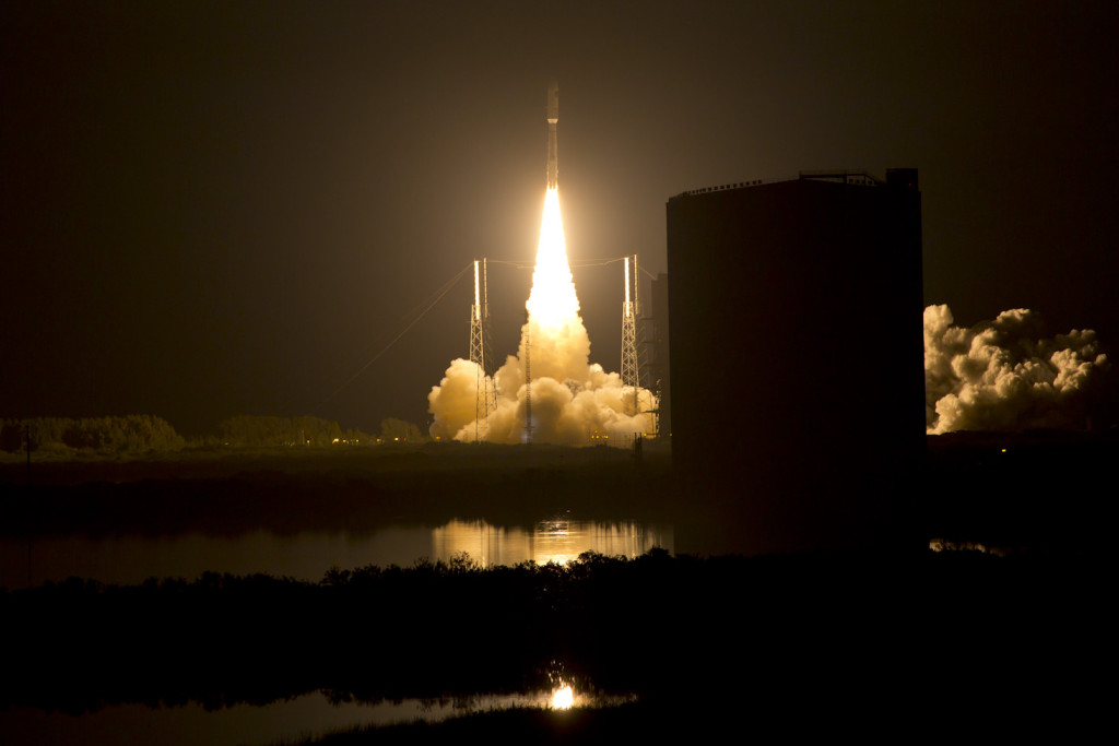 The U.S. Navy's third Mobile User Objective System (MUOS-3) satellite launched aboard a United Launch Alliance Atlas V. Image Credit: Lockheed Martin