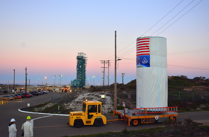 Last week, NASA's Soil Moisture Active Passive satellite was transported across Vandenberg Air Force Base in California to Space Launch Complex 2, where it will be mated to a Delta II rocket for launch. Image Credit: NASA/Randy Beaudoin
