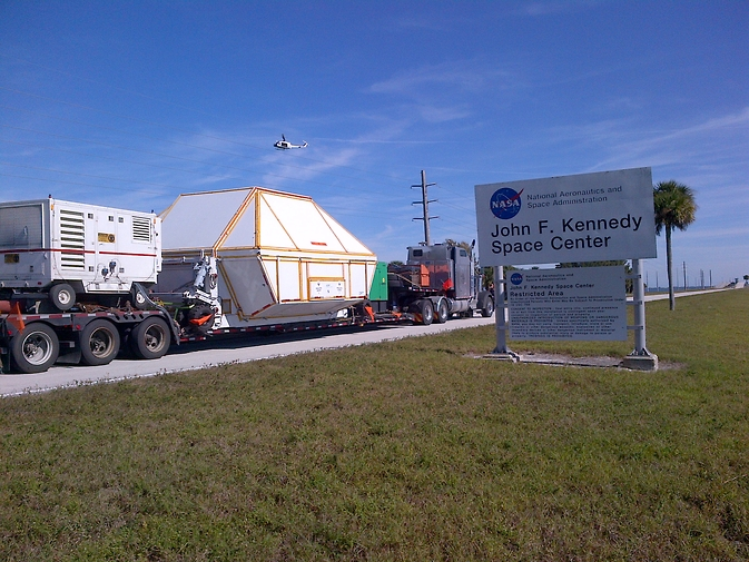 NASA's Orion spacecraft returned to the agency's Kennedy Space Center in Florida Dec. 18, 2014. The spacecraft flew to an altitude of 3,600 miles in space during a Dec. 5 flight test designed to stress many of the riskiest events Orion will see when it sends astronauts on future missions to an asteroid and on the journey to Mars. Image Credit: NASA