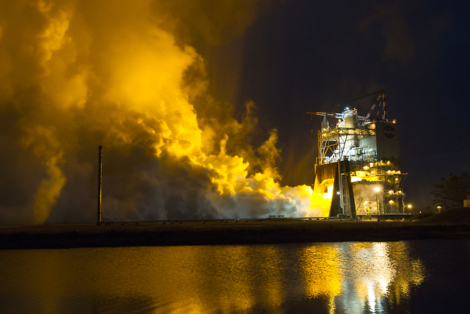The RS-25 engine fires up for a 500-second test Jan. 9 at NASA's Stennis Space Center near Bay St. Louis, Mississippi. Image Credit: NASA