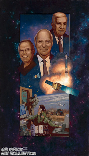 The idea of GPS began in the minds of three individuals -- Dr. Bradford Parkinson, Dr. Ivan Getting and Roger Easton – who would later become the fathers of GPS. Image Credit: Schriever Air Force Base