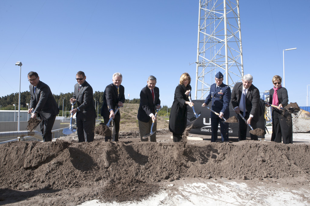 Officials take part in the formal groundbreaking at Space Launch Complex 41 where the Commercial Crew Access Tower will be built. The 200-foot-tall structure is designed to provide safe access for flight and ground crews to the Boeing CST-100 spacecraft at the pad. Image Credit: NASA
