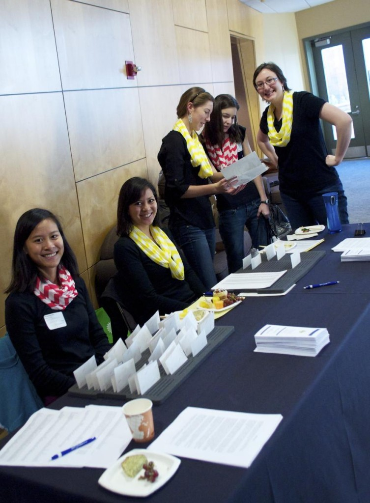 SWE officers get ready to welcome high school students to the Girls Lead the Way event. Image Credit: Taylor Smith