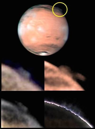 The top image shows the location of the mysterious plume on Mars, identified within the yellow circle (top image, south is up), along with different views of the changing plume morphology taken by W. Jaeschke and D. Parker on 21 March 21 2012. Image Credit: W. Jaeschke and D. Parker
