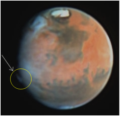 A curious plume-like feature was observed on Mars on 17 May 1997 by the Hubble Space Telescope. It is similar to the features detected by amateur astronomers in 2012, although appeared in a different location. Image Credit: JPL/NASA/STScI