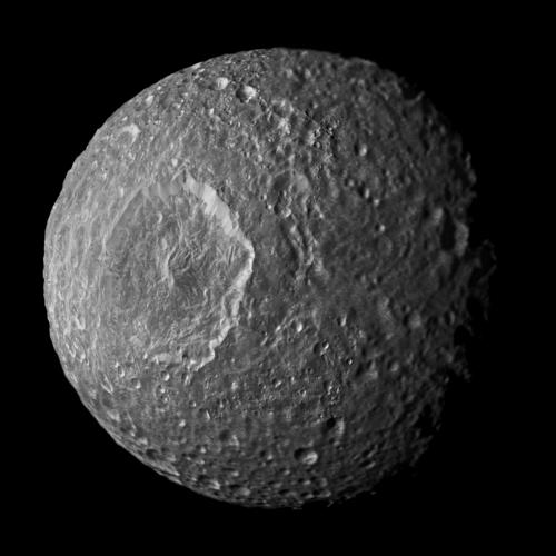This mosaic of Saturn's moon Mimas was created from images taken by Cassini during its closest flyby of the moon (Feb. 13, 2010). Image Credit: NASA/JPL