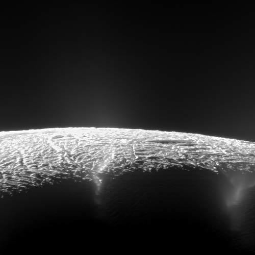 This dramatic view looks across the region of Enceladus' geyser basin and down on the ends of the Baghdad and Damascus fractures that face Saturn. Image Credit: NASA/JPL