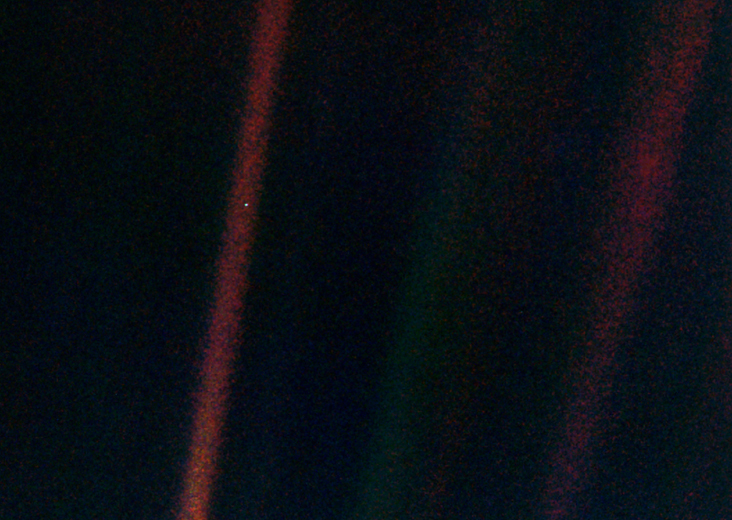 "This narrow-angle color image of the Earth, dubbed ""Pale Blue Dot,"" is a part of the first ever ""portrait"" of the solar system taken by Voyager 1. Image Credit: NASA/JPL-Caltech"