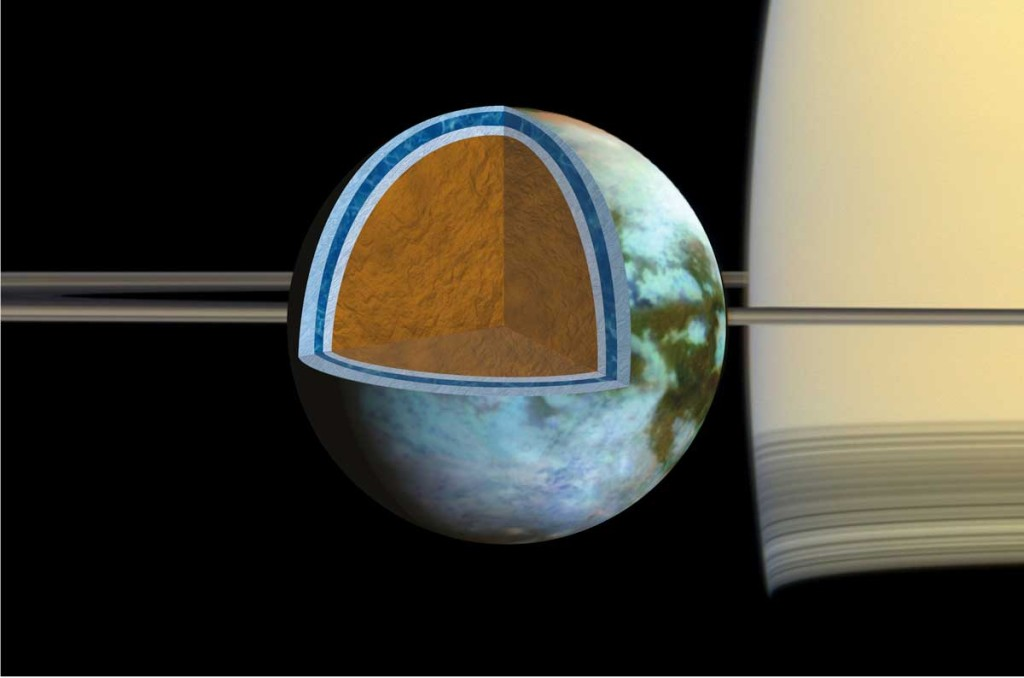 Researchers found that Titan's ice shell, which overlies a very salty ocean, varies in thickness around the moon, suggesting the crust is in the process of becoming rigid. Image Credit: NASA/JPL