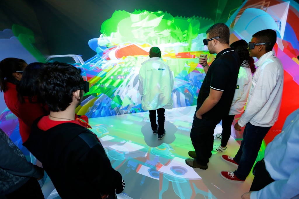 Lockheed Martin hosted 53 of Brazil's top science, technology, engineering and math (STEM) students at its Space Systems facility. The students toured the company and interacted with advanced technology demonstrations, including the Collaborative Human Immersive Laboratory (CHIL). Image Credit: Lockheed Martin