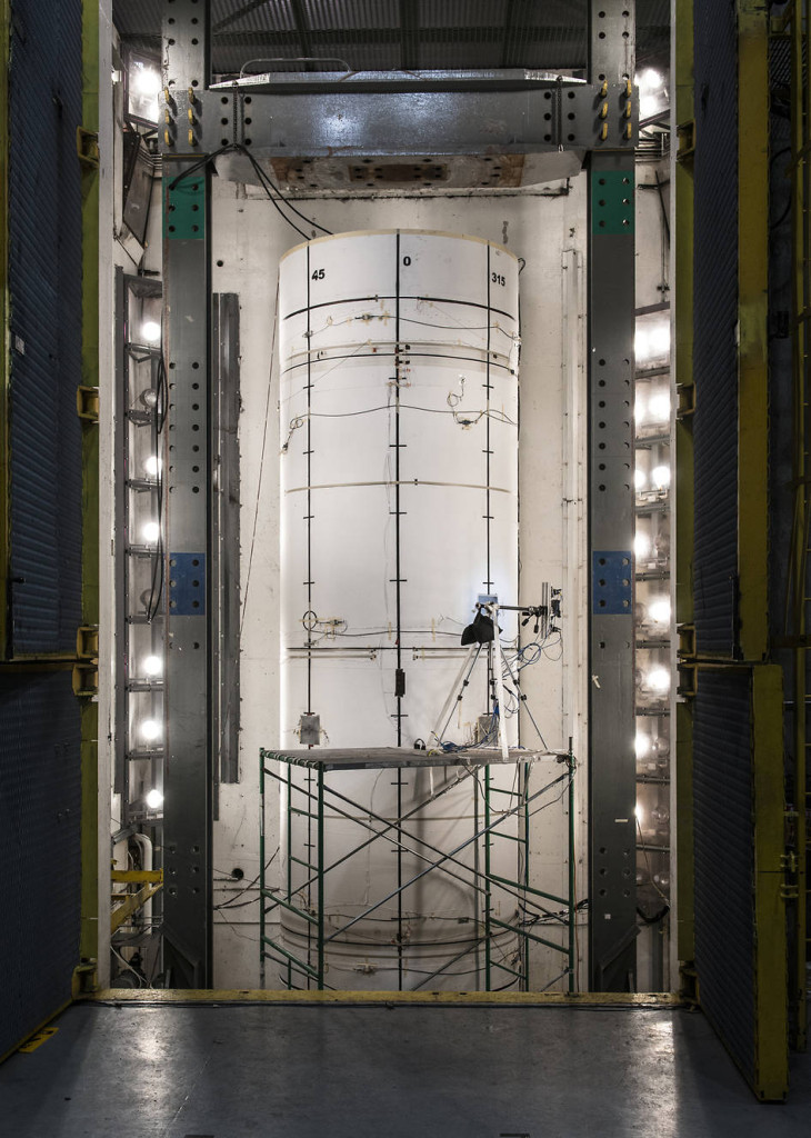 Standing more than two stories tall and almost 8 feet in diameter, the composite test structure was pressurized with water until it burst. Image Credit: Orbital ATK