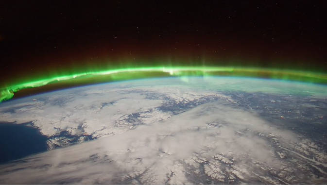 The Aurora Borealis viewed by the crew of Expedition 30 on board the International Space Station. The sequence of shots was taken on February 7, 2012 from 09:54:04 to 10:03:59 GMT, on a pass from the North Pacific Ocean, west of Canada, to southwestern Illinois. Image Credit: NASA/JSC