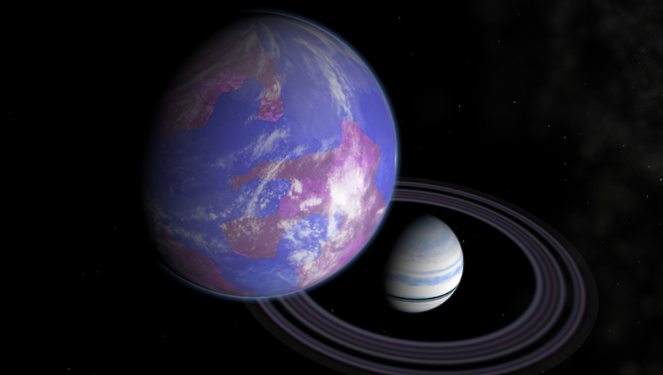 Artist's impression of a hypothetical Earth-like moon around a Saturn-like exoplanet. Image Credit: NASA