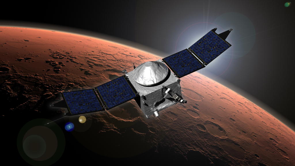This image shows an artist concept of the MAVEN spacecraft in orbit around Mars. Image Credit: NASA/GSFC