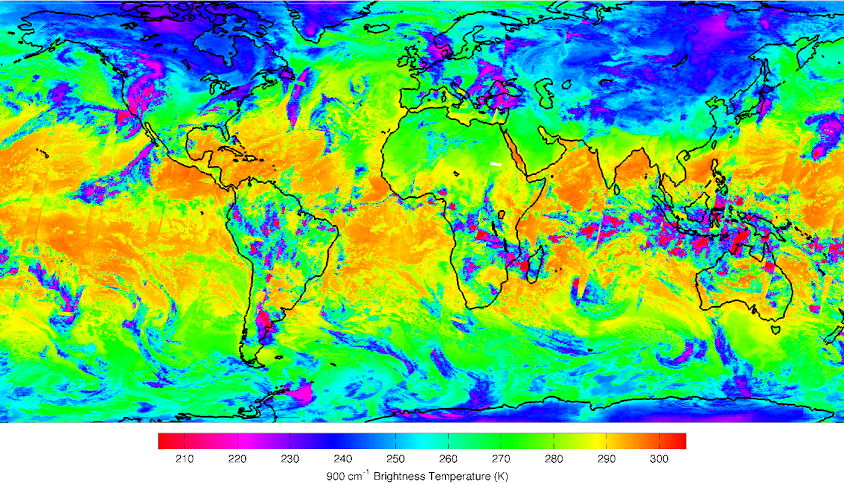 This image is a composite of three days of CrIS data from January 21, 23 and 25, 2012. The orange colors represent very warm sea surface temperatures while magenta represents both very cold temperatures as well as high-altitude cloud tops. Image Credit: NASA/NOAA