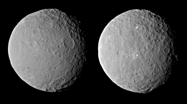 These images of dwarf planet Ceres, processed to enhance clarity, were taken on Feb. 19, 2015, from a distance of about 29,000 miles (46,000 kilometers), by NASA's Dawn spacecraft. Dawn observed Ceres completing one full rotation, which lasted about nine hours. Image Credit: NASA/JPL-Caltech/UCLA/MPS/DLR/IDA