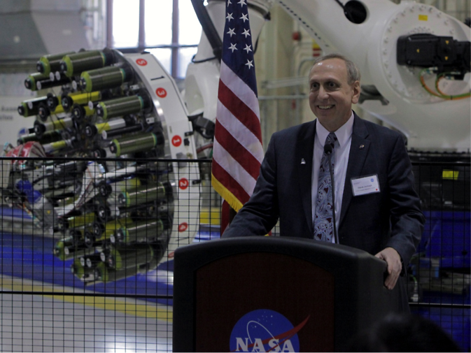 NASA's Steve Jurczyck addresses an audience during a manufacturing event in Hampton, Virginia, last month. Image Credit: NASA/Gary Banziger
