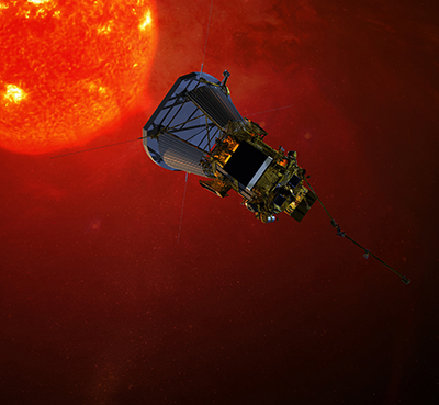 Artist's impression of NASA's Solar Probe Plus spacecraft on approach to the sun. Set to launch in 2018, Solar Probe Plus will orbit the sun 24 times, closing in with the help of seven Venus flybys. Image Credit: NASA/Johns Hopkins University Applied Physics Laboratory