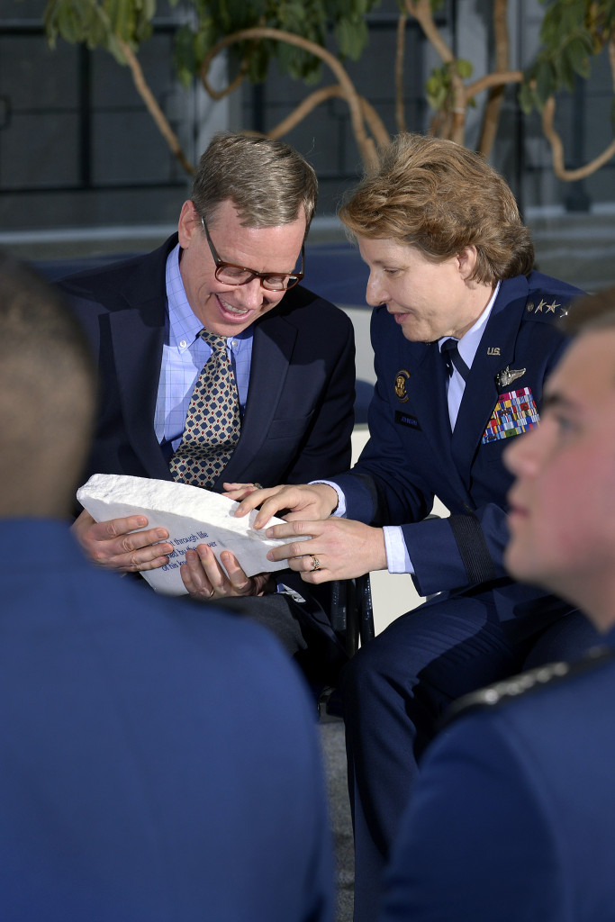 ntel Corporation's principal strategist Keith Uebele and Academy Superintendent Lt. Gen. Michelle D. Johnson chat about the inscribed piece of the terrazzo Uebele received from the Cadet Wing during the 19th-annual Research Awards Ceremony at the Academy March 3. Image Credit: U.S. Air Force/Jason Gutierrez