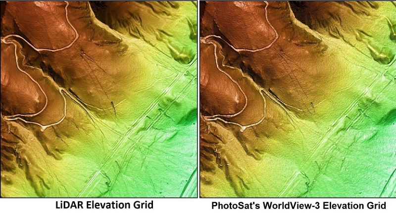 LiDAR elevation grid vs PhotoSat's WorldView-3 elevation grid showing minor differences in detail. Image Credit: PRNewsFoto/PhotoSat Information Ltd