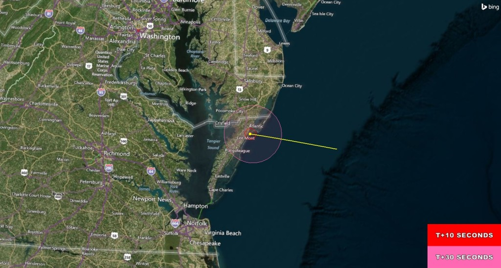 (Click to Enlarge) Visibility map for RockSat-X IV. The rocket is projected to be visible to residents in the Wallops area. Image Credit: NASA