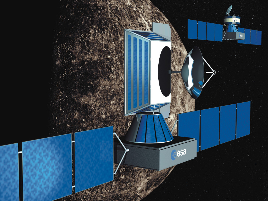 An artist's impression of Europe's twin BepiColumbo orbiters at Mercury. Image Credit: ESA