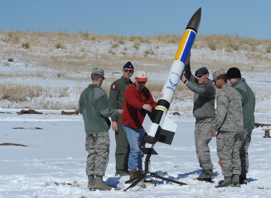 Air Force Academy cadets prepare a Level III rocket for launch. Image Credit: U.S. Air Force