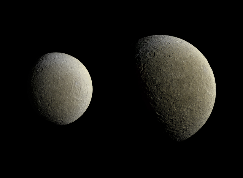 Cassini's cameras captured images of the icy moon Rhea, as shown in these in two image mosaics. Image Credit: NASA/JPL-Caltech/Space Science Institute