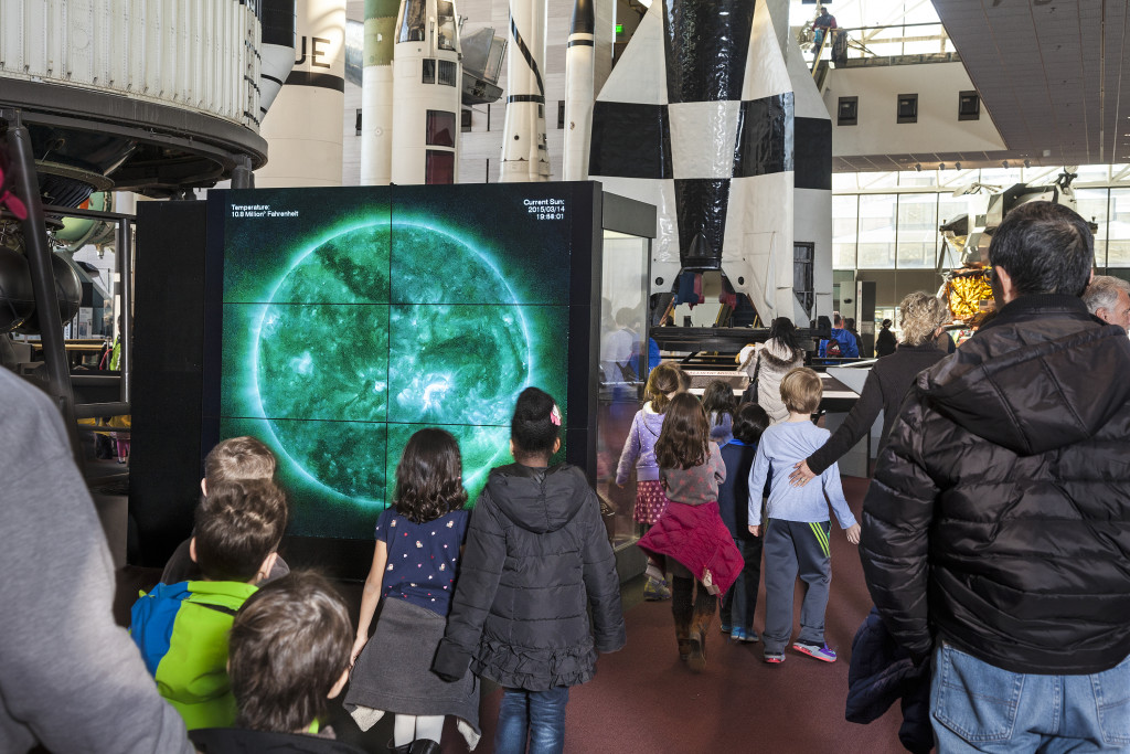 The new Dynamic Sun Video Wall at the Smithsonian's National Air and Space Museum displays the sun's mighty energy in dazzling high definition. The images come from the Atmospheric Imaging Assembly, which was built at Lockheed Martin's Advanced Technology Center in Palo Alto, California. Image Credit: Air and Space Museum)