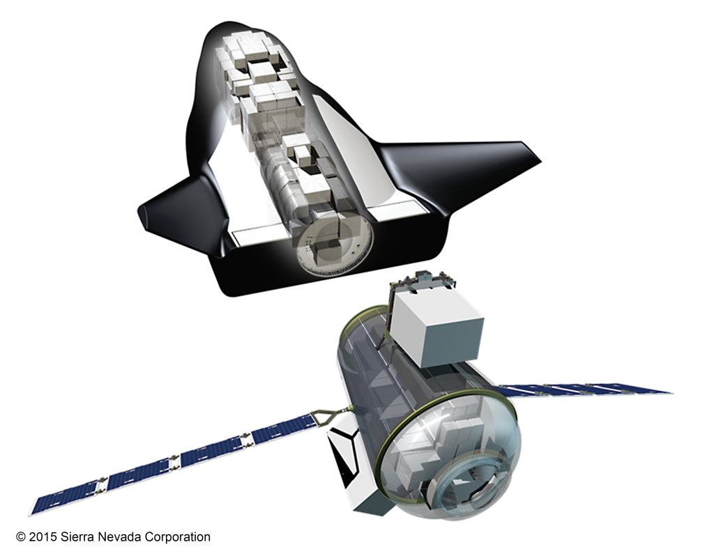 Sierra Nevada Corporation's Uncrewed Dream Chaser with Cargo Module and visible cargo. Image Credit: Sierra Nevada Corp.