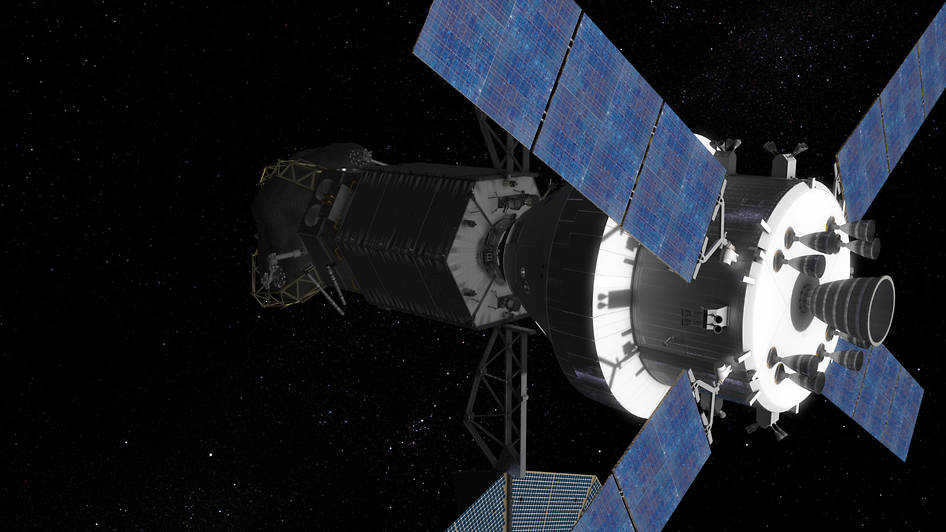 The Orion spacecraft with two crew inside approaches to dock with the Asteroid Redirect Vehicle. Image Credit: NASA