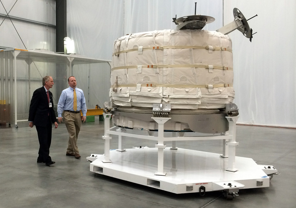 William Gerstenmaier, NASA's associate administrator for human exploration and operations, and Jason Crusan, director of the agency's advanced exploration systems division, view the Bigelow Expandable Activity Module (BEAM) at Bigelow's facility in Las Vegas on March 12. Image Credit: Stephanie Schierholz