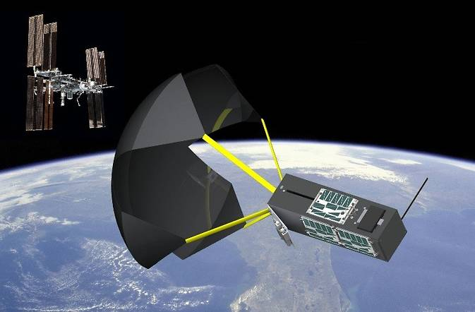 Graphic rendering of TechEdSat–4 with exo-brake deployed. Exo-brake is an aerodynamic specially-designed parachute-like device, that causes the satellite to de–orbit and re–enter Earth's atmosphere. Image Credit: NASA Ames