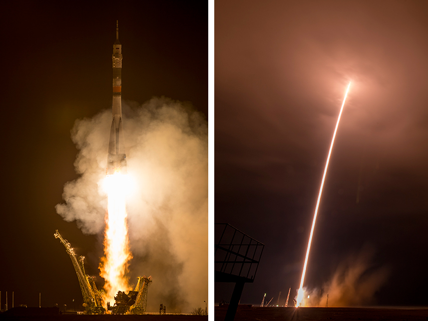The Soyuz TMA-16M rocket launches on time from the Baikonur Cosmodrome in Kazakhstan to the International Space Station. Image Credit: NASA