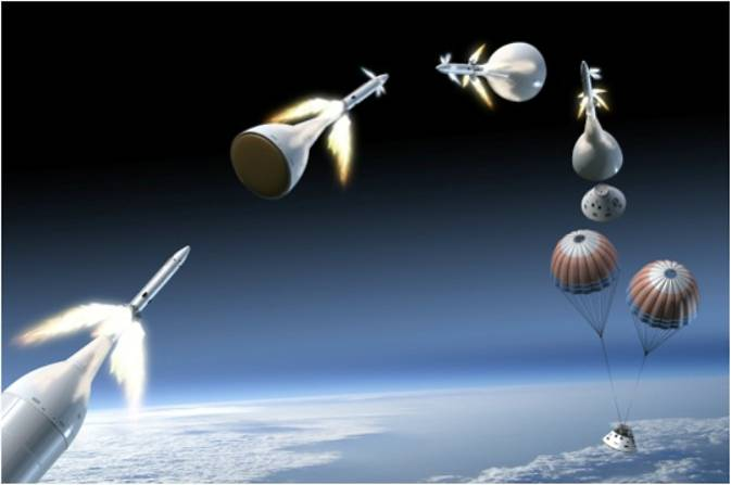 On March 4, Orbital ATK, in collaboration with NASA and Lockheed Martin, completed its latest test of Orion's Launch Abort System attitude control motor. This is an artist's concept of the attitude control motor in operation during an abort. Image Credit: NASA