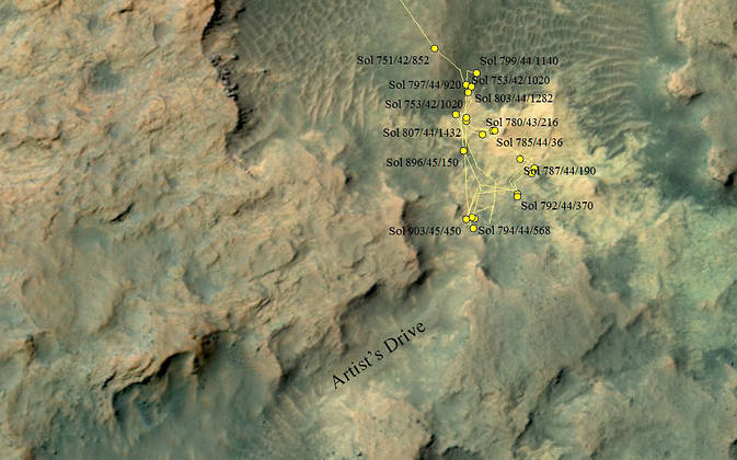 "This area at the base of Mount Sharp on Mars includes a pale outcrop, called ""Pahrump Hills,"" that NASA's Curiosity Mars rover investigated from September 2014 to March 2015, and the ""Artist's Drive"" route toward higher layers of the mountain. Image Credit: NASA/JPL-Caltech/Univ. of Arizona"