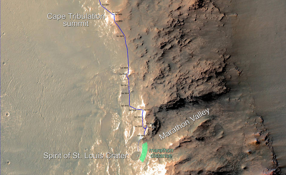 This map updates progress that NASA's Mars Exploration Rover Opportunity is making toward reaching a driving distance equivalent to a marathon footrace. It indicates the rover's position on March 5, 2015, relative to where it could surpass that distance. Image Credit: NASA/JPL-Caltech/Univ. of Arizona