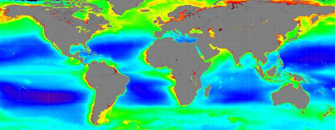 New measurements by NASA's PACE spacecraft will advance our understanding of how living marine resources respond to a changing climate. NASA pioneered the field of global ocean color observations with the SeaWIFS satellite sensor from 1997 to 2010. Image Credit: NASA