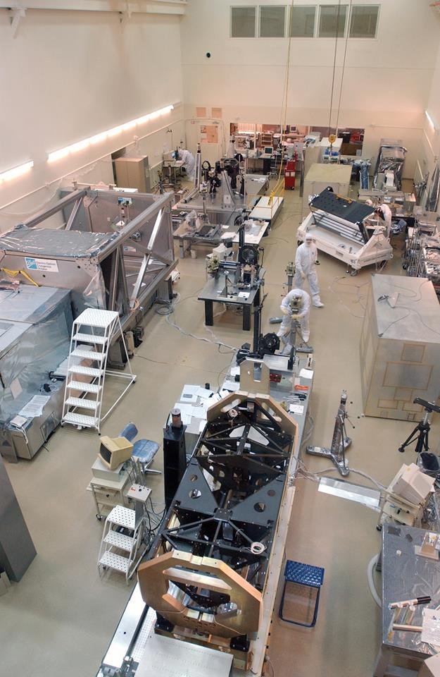 Three Ball instruments for #Hubble25 were in the Ball clean room in 2001:Advanced Camera for Surveys, Cosmic Origins Spectrograph, and the optical bench for the Wide Field Camera 3 in the far left-hand corner. Image Credit: Ball Aerospace