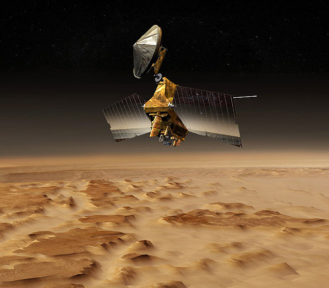 An artist's concept of the Mars Reconnaissance Orbiter. Image credit: NASA/JPL